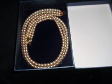 "VINTAGE ELEGANT 3 STRAND FAUX PEARL 16"" CHOKER NECKLACE GOLD TONE CLASP FOC BOX"